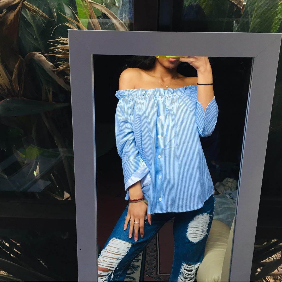 Blue and white striped ruffle / frill off the shoulder long sleeve top