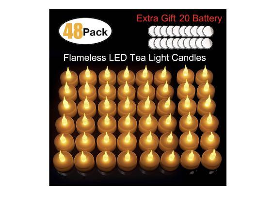 Brand new 48pk LED flameless candles tea lights with batteries