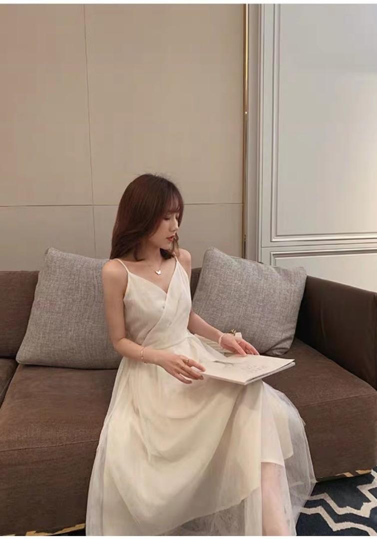 Bridesmaid Sister dress Simple Spag V neck dress