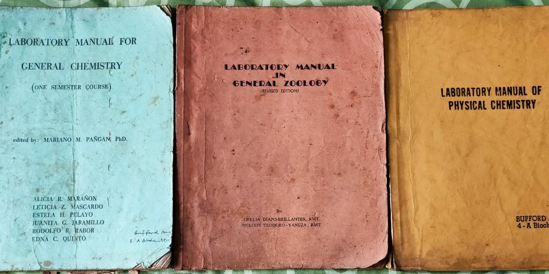 Bundle of 3: Laboratory Manual for General Chemistry, edited by Pañgan, A photocopy of Laboratory Manual of Physical Chemistry by Crockford&Nowell, and Laboratory Manual in General Zoology by Brillantes& Yaneza