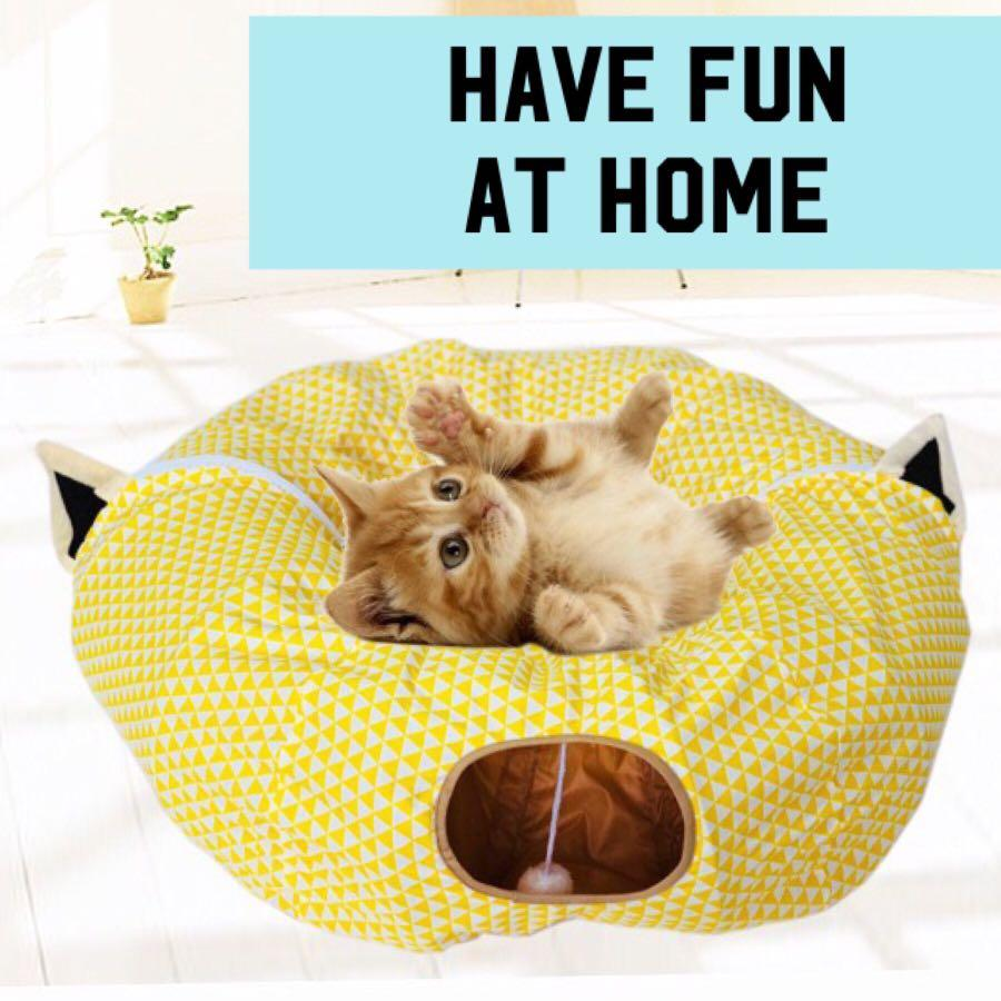 Cat Tunnel Bed Foldable Cute Cat Design