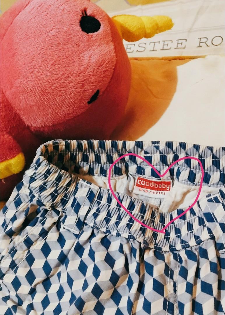 Celana Pendek (anak Laki-Laki) Cool Baby, 12-18 Months. Warna Biru Kotak-Kotak