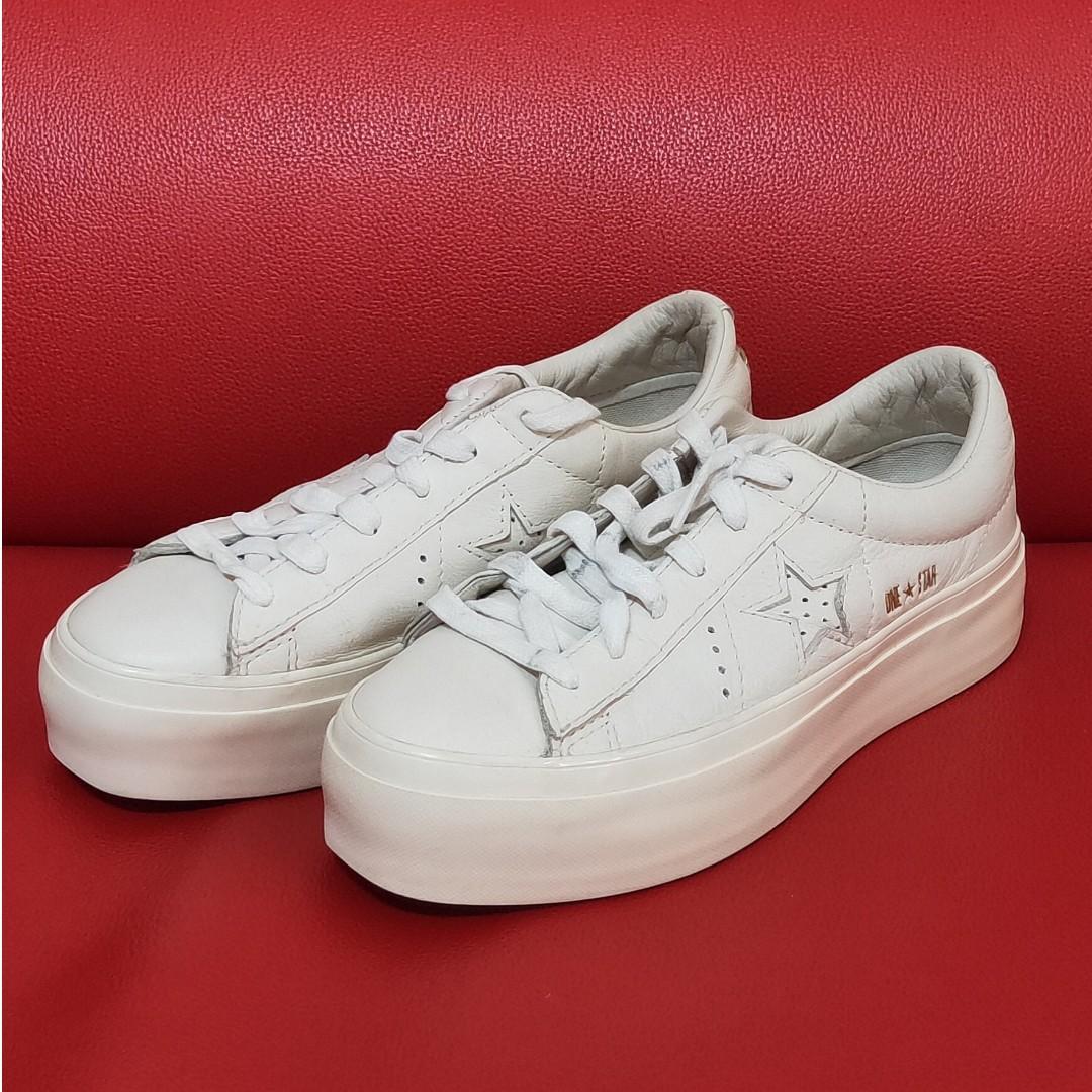 Converse All Star 厚底 增高 皮革 休閒鞋 米白 二手