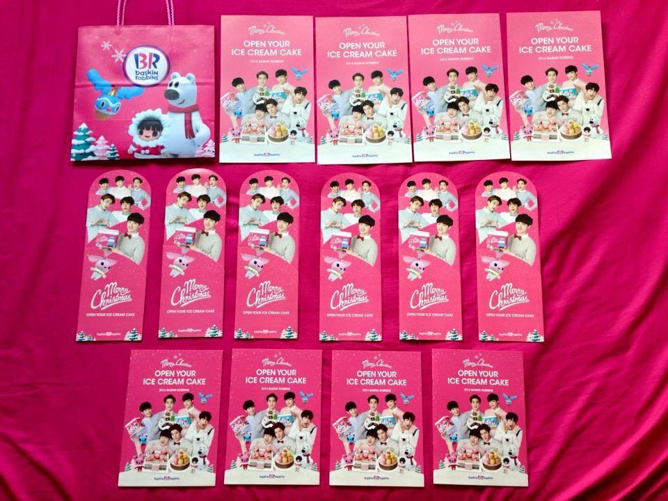 EXO OFFICIAL BASKIN ROBBIN PROMO MERCHANDISE   1. PAMPHLET 2. STANDEE     3. CATALOG BOOK    SET ( pamphlet / standee / catalog )