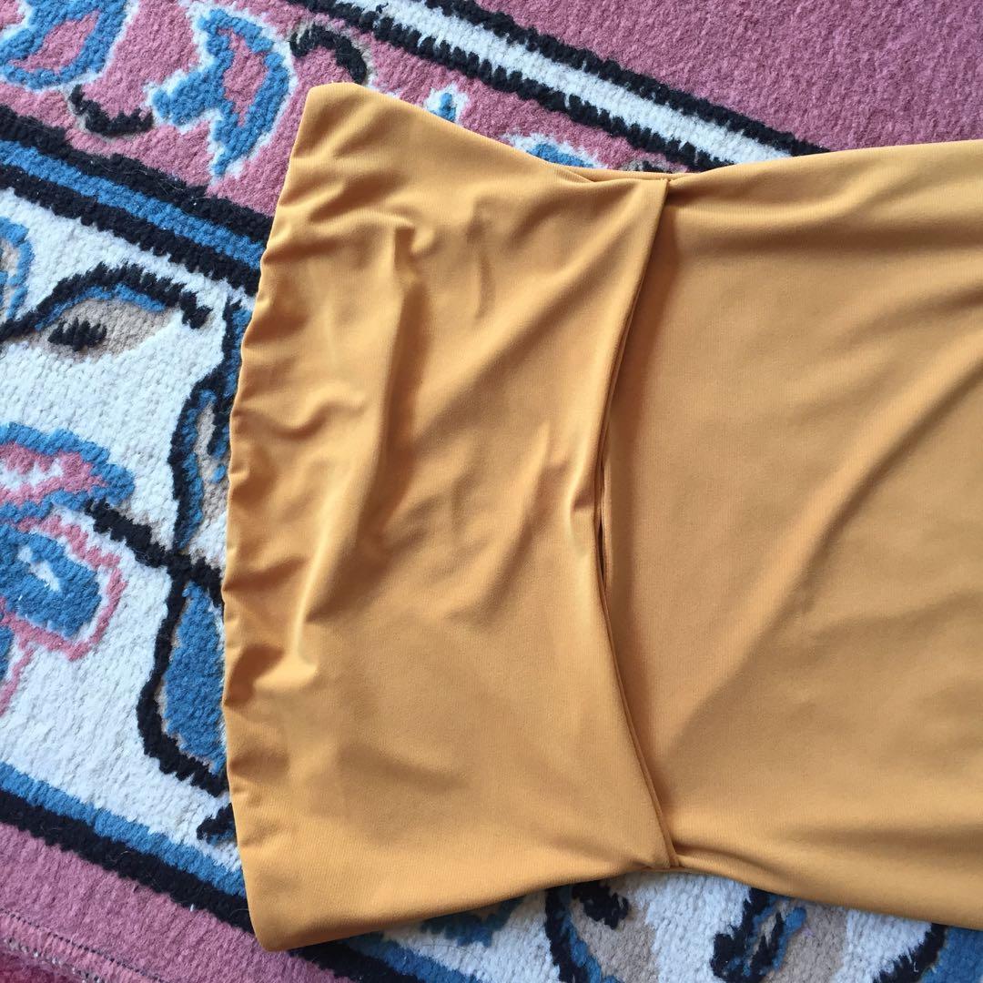 FASHION NOVA mustard strapless midaxi (midi / maxi) dress