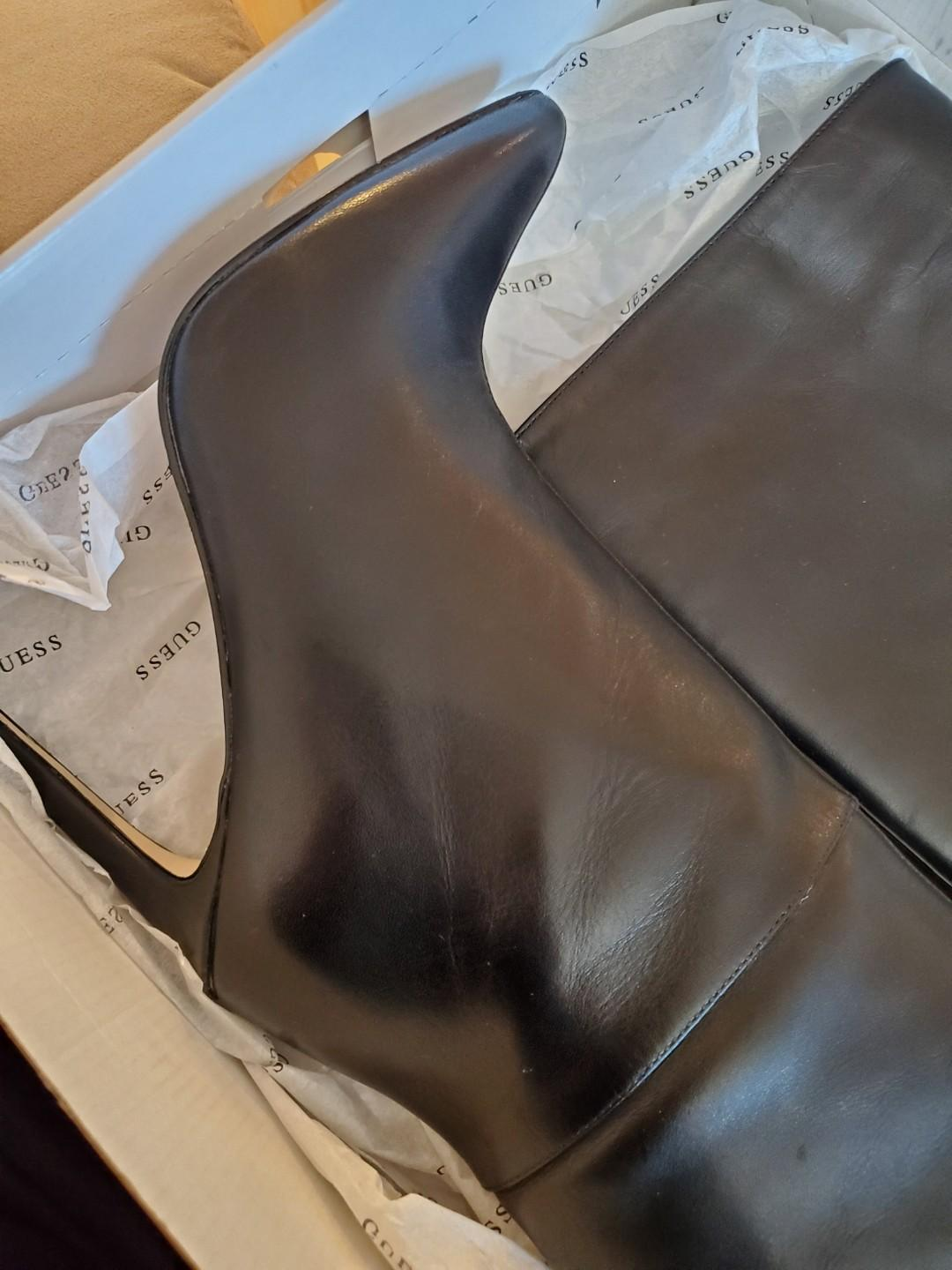GUESS leather black boot stilettos. NEVER WORN OUTSIDE