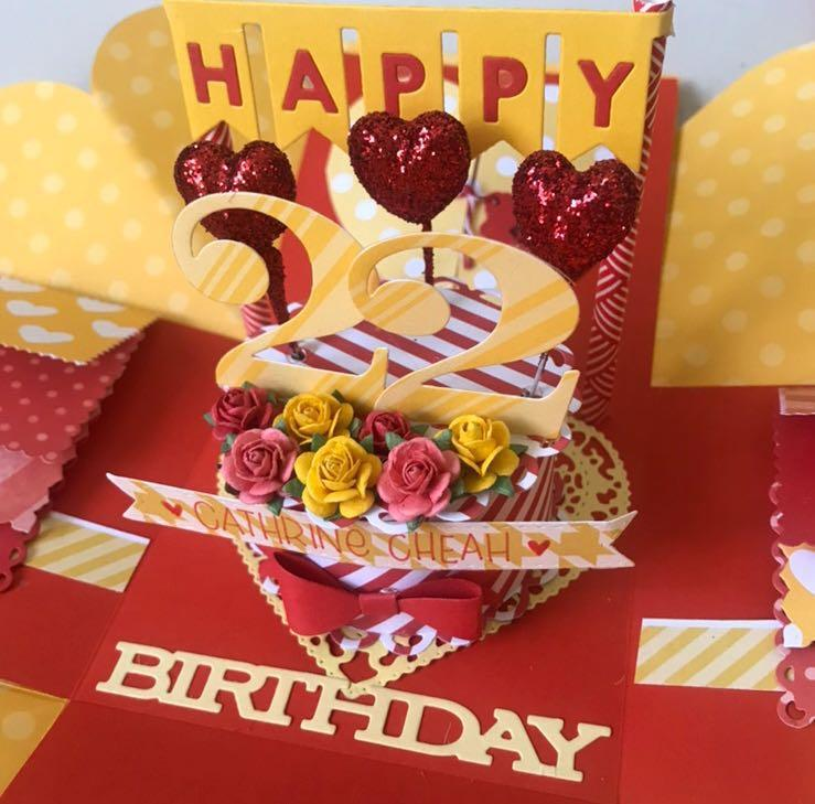 Happy 22 birthday explosion box card in red and yellow theme