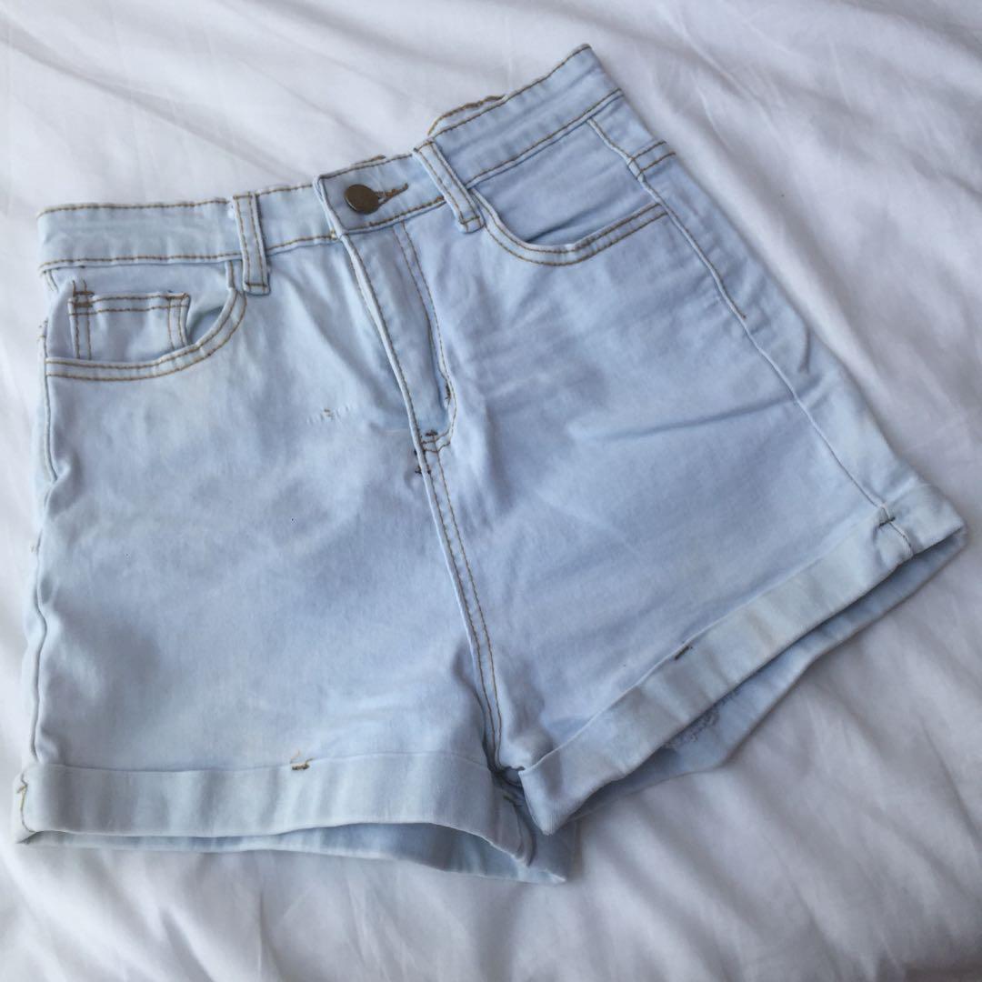 Light Denim High Waist Shorts #CAROU10