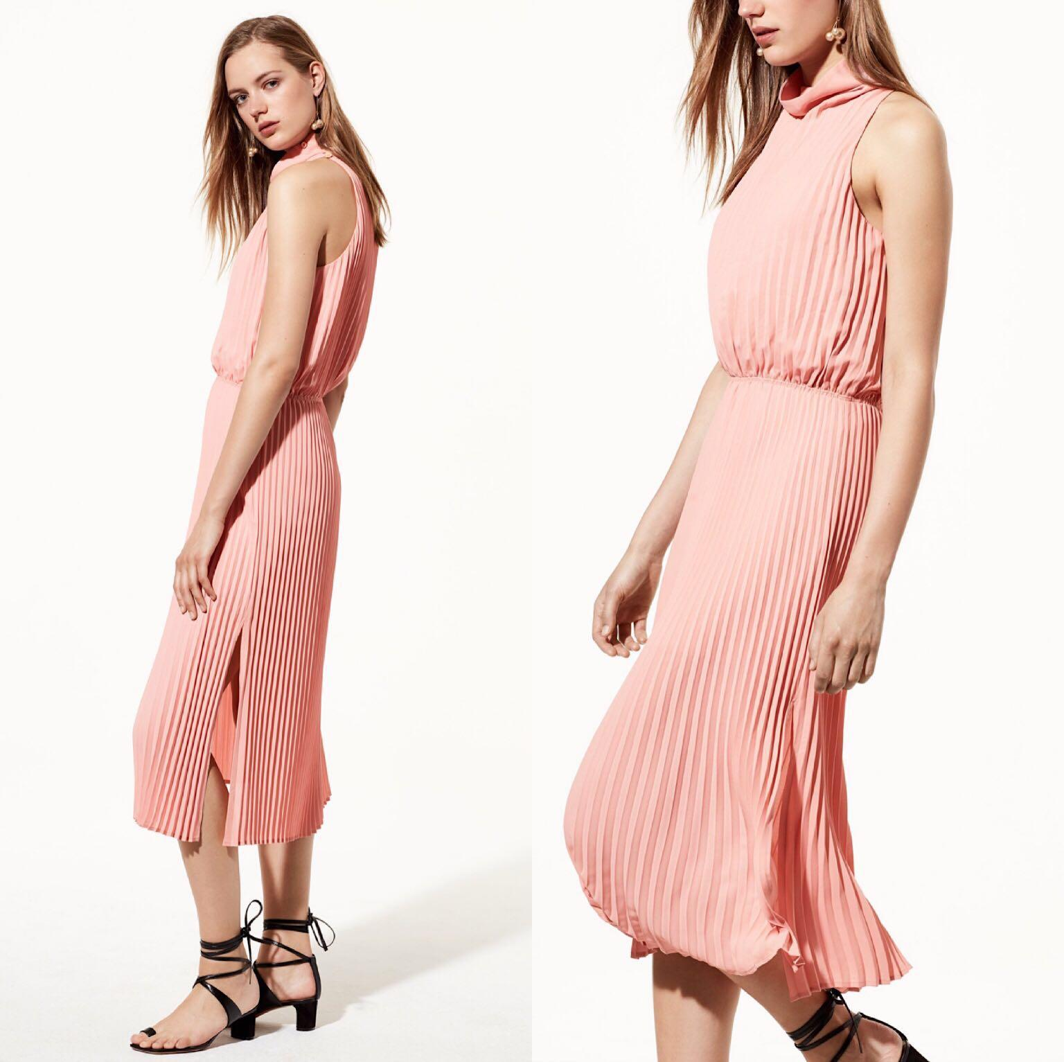 *Like New* Aritzia / Babaton Turtle Neck Pleated Bautista Dress in Pink Women Size M