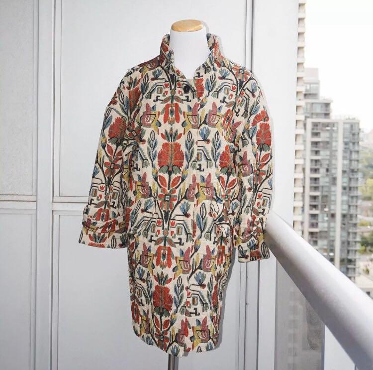 *Like New* Zara Floral Embroidery Tapestry Coat Size S