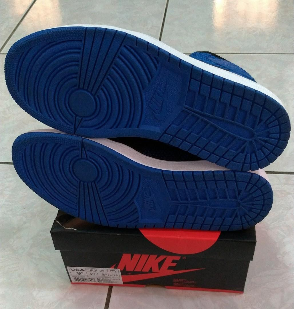 NIKE Air Jordan 1 Flyknit OG 黑藍 編織 9.5號 919704-006