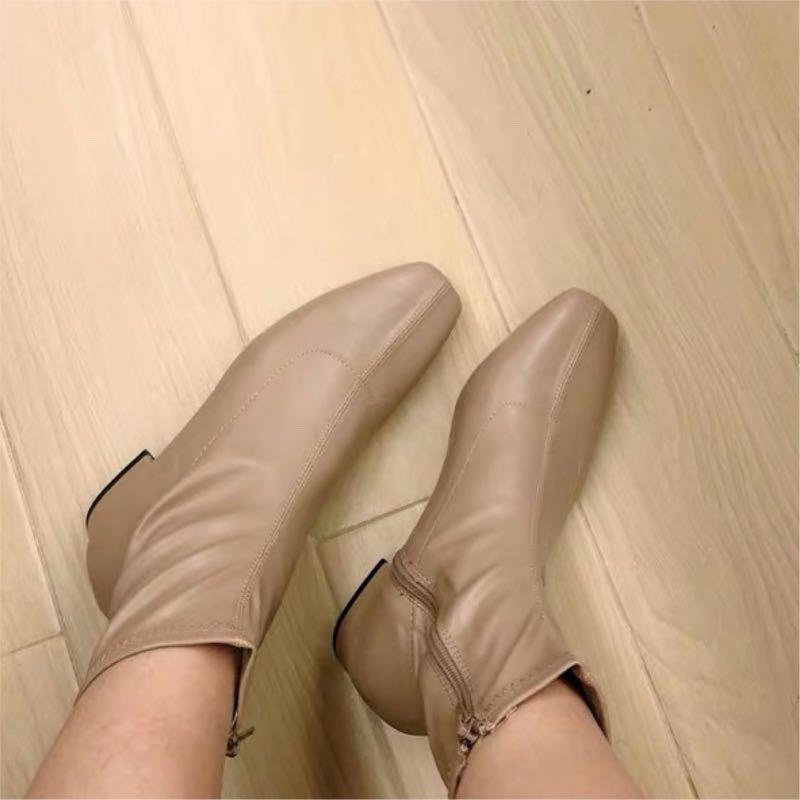 韓妞顯瘦方頭襪靴!杏駝色百搭縫線粗跟造型短靴超好穿軟皮靴側拉鏈小安簡約百搭nude踝靴miyuki韓國上班面試日本OL