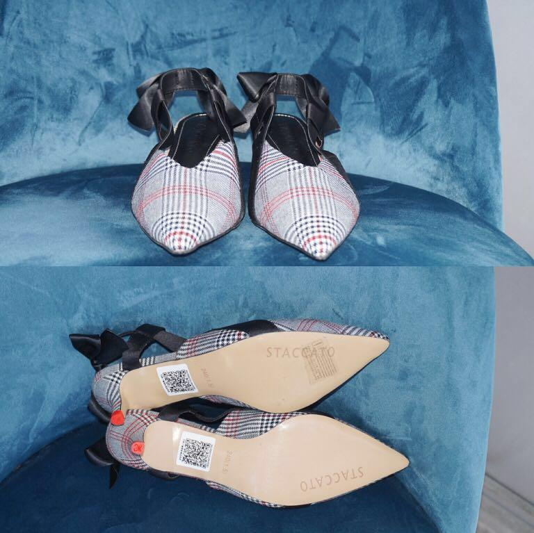 *NWOB* STACCATO Check Pattern Slingback Kitten Heels (fits 7.5 of narrow 8)
