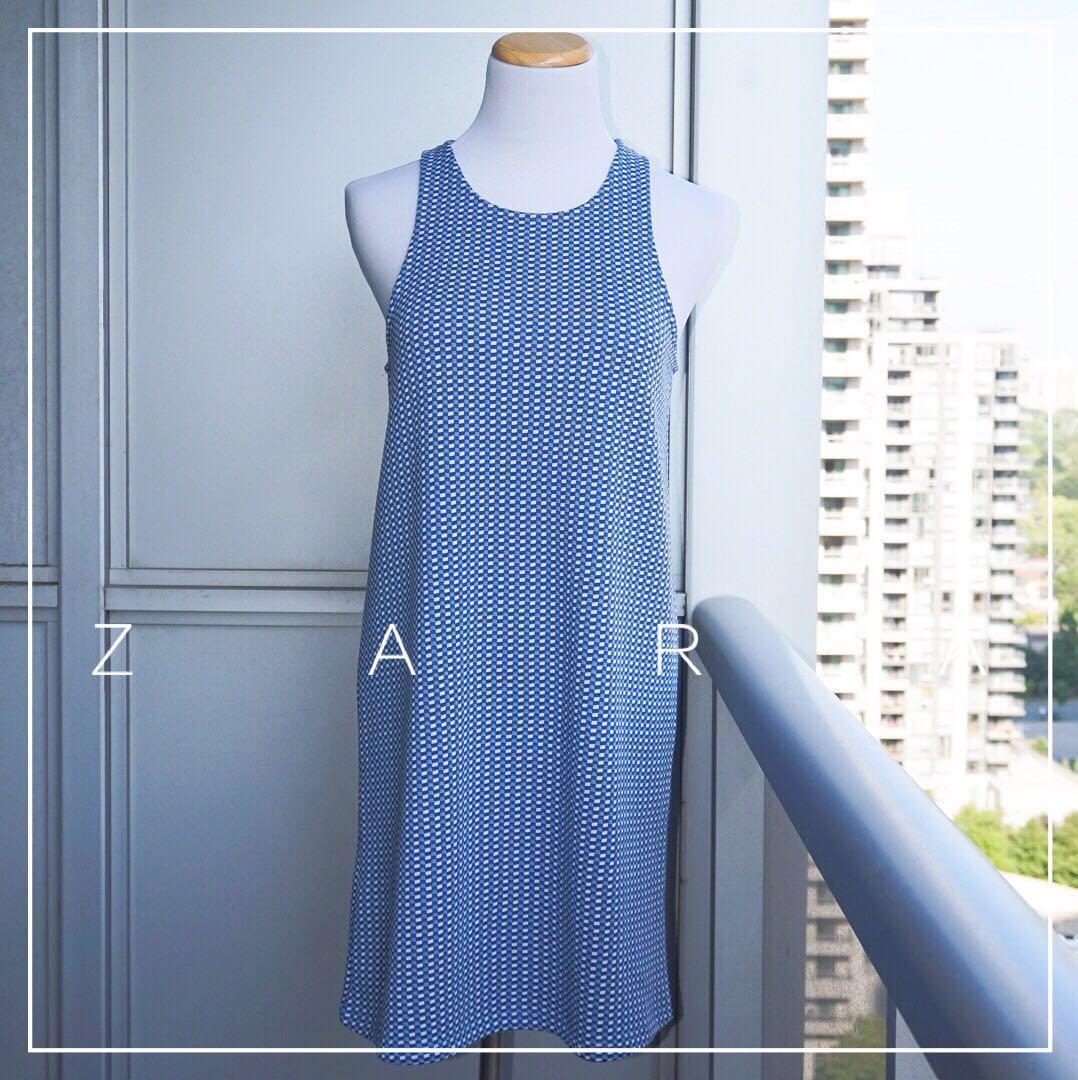 *NWOT* Zara Jacquard Blue Mini Dress with Open Black Size M