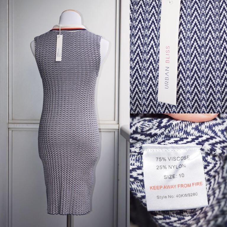 *NWT* Urban Bliss Maeve Chevron Rib Collared Shift Dress Women Size US 6 (UK 10)