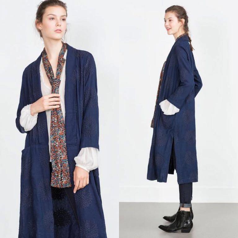 *NWT* Zara 100% Cotton Kimono with Embroidery Women Size M