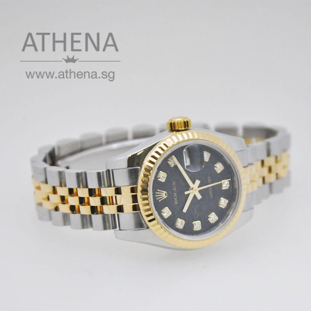 """ROLEX LADIES """"HALF GOLD"""" OYSTER PERPETUAL DATEJUST """"G"""" SERIES """"BLACK COMPUTER DIAMOND DIAL"""" WITH CERT 179173 WLWRL_1128"""