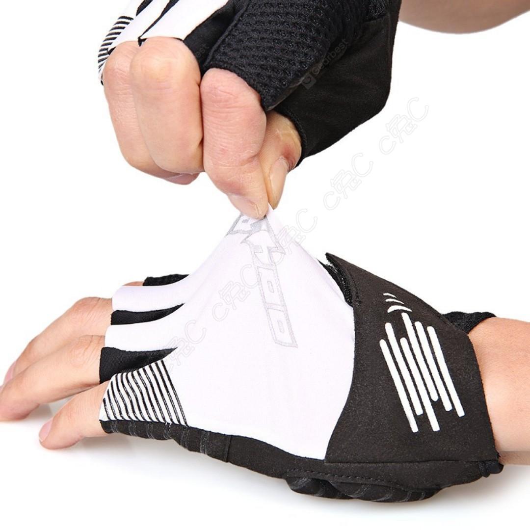 SAHOO-全新自行車Gel吸震短指手套 EVA減震防滑半截式手套 彈力萊卡反光半指手套 透氣避震快脫手套