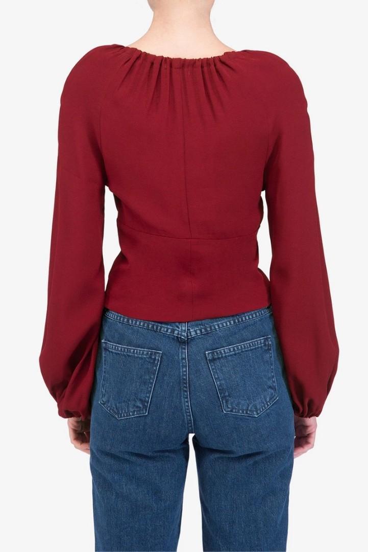 Staud Astoria Top in Garnet Red - Size 10-12 BNWOT RRP $275