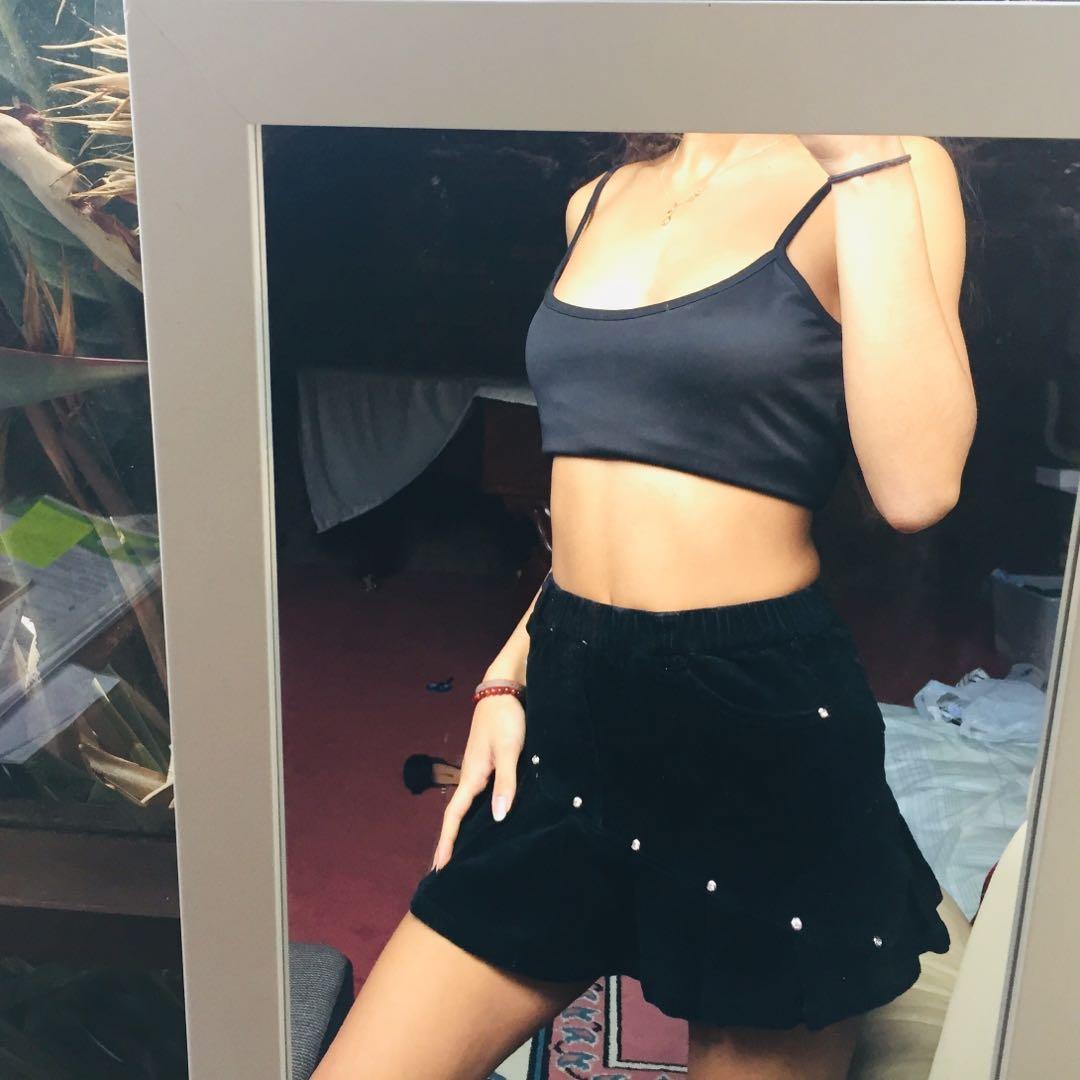 VINTAGE cord/corduroy mini skirt with ruffles and diamontes