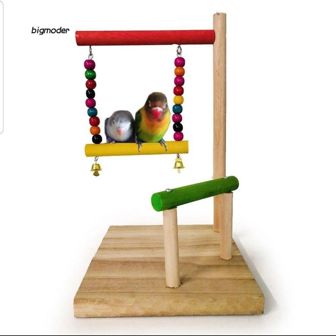 Wooden Parrot Hanging Swing Bell Toy Perch Stand Bar Beads
