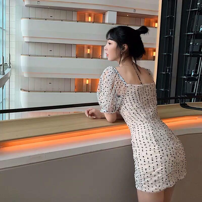 ZARA白色網紗點點彈性性感公主袖泡泡袖連衣裙洋裝