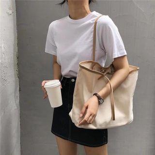 簡約撞色帆布包手提布包購物袋大容量單肩休閒女包