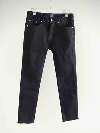 ALLMETAL 黑色彈性九分牛仔褲L