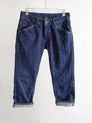 美國VOLCOM 深藍色低腰八分牛仔褲#30