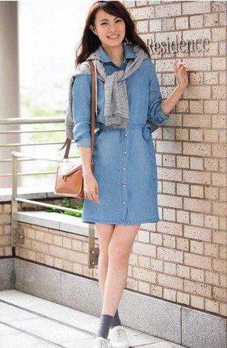 日本UNIQLO 淺藍色長版長袖襯衫式洋裝M