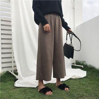 韓國🇰🇷百搭復古秋冬針織高腰闊腿褲(卡其色)