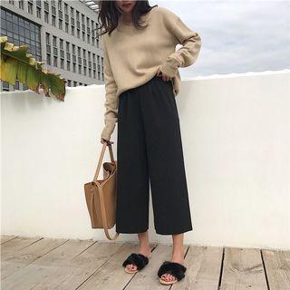 韓國🇰🇷百搭復古秋冬針織高腰闊腿褲(黑色)