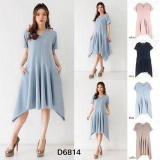 D6824 Midi dres pendek polos dress scuba dress pesta dress kondangan dress vneck dress simpel flare dress kerja dress formal