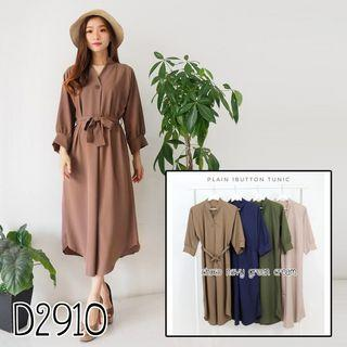 D6687 Midi dress lengan panjang dress ikat dress kerja dress formal dress kekinian dress kancing dress busui dress vneck dress polos dress korea dress casual dress kantor