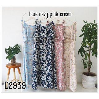 D6687 Long dress motif dress kekinian dress tanktop dress hamil dress pantai dress tanpa lengan dress vintage
