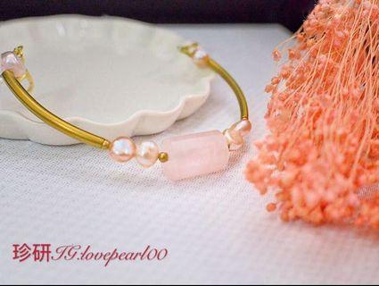 粉晶珍珠愛情手鏈