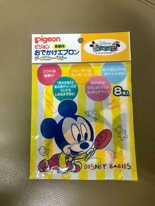 日本製 貝親Pigeon 拋棄式立體圍兜6枚入 米奇款