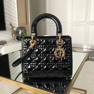 💯 Authentic Lady Dior in Black Patent Leather (Medium)