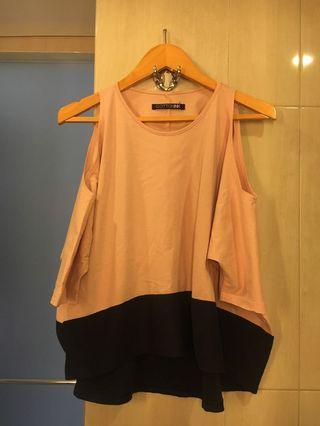 Cottonink Cut Off Shoulder Top In Pink