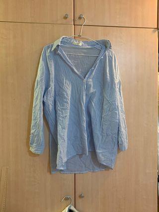 淺藍條紋薄款長襯衫男友襯衫