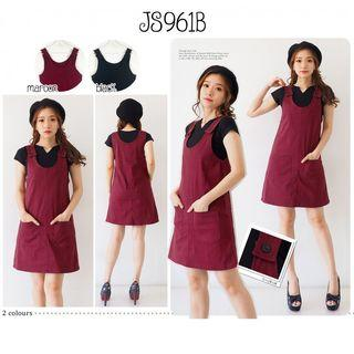JS961B Jumpsuit rok dress overall dress kodok dress remaja dress casual dress korea dress kekinian
