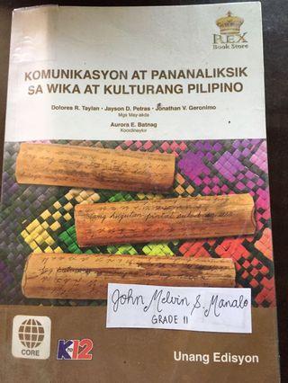 KOMUNIIKASYON AT PANANALIKSIK SA WIKA AT KULTURANG PILIPINO Tayan Petras Geronimo. REX BOOKS