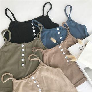 細肩帶針織短版背心 (黑/杏)
