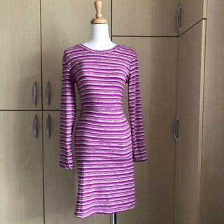 (吊牌未拆)法式人魚浪漫條紋合身鬱金香洋裝