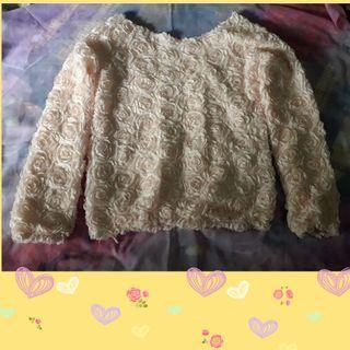 Sweater pink flower timbul