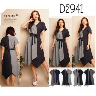 D2941 Midi dress kimono dress kondangan dress kombinasi warna dress vneck dress tali pinggang dress formal dress kekinian