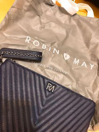 ROBINMAY 手拿肩背兩用包 「全新深藍色」