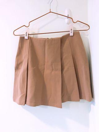 氣質卡其西裝微高腰短裙(內有安全褲)