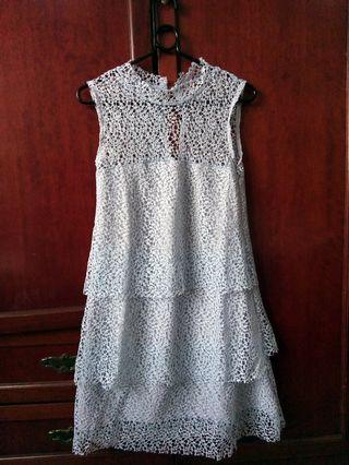 Baby Blue Floral Lace Sleeveless Dress