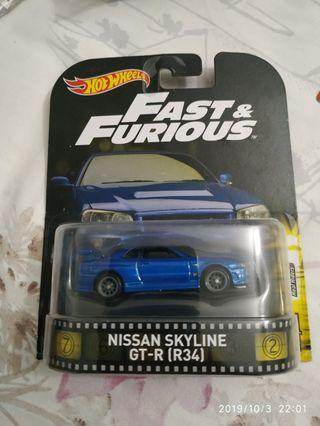Hot Wheels Nissan Skyline R34 Fast and Furious Retro